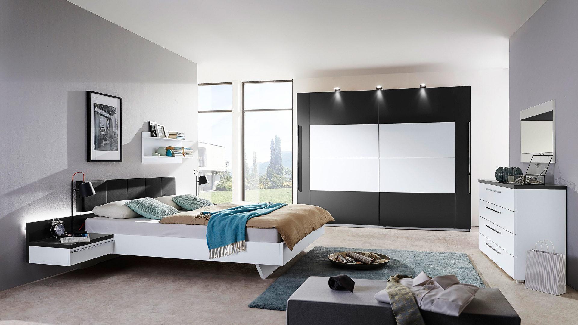 modernes rauch PACKS Schlafzimmer, alpinweiße & graphitfarbene, Bad ...