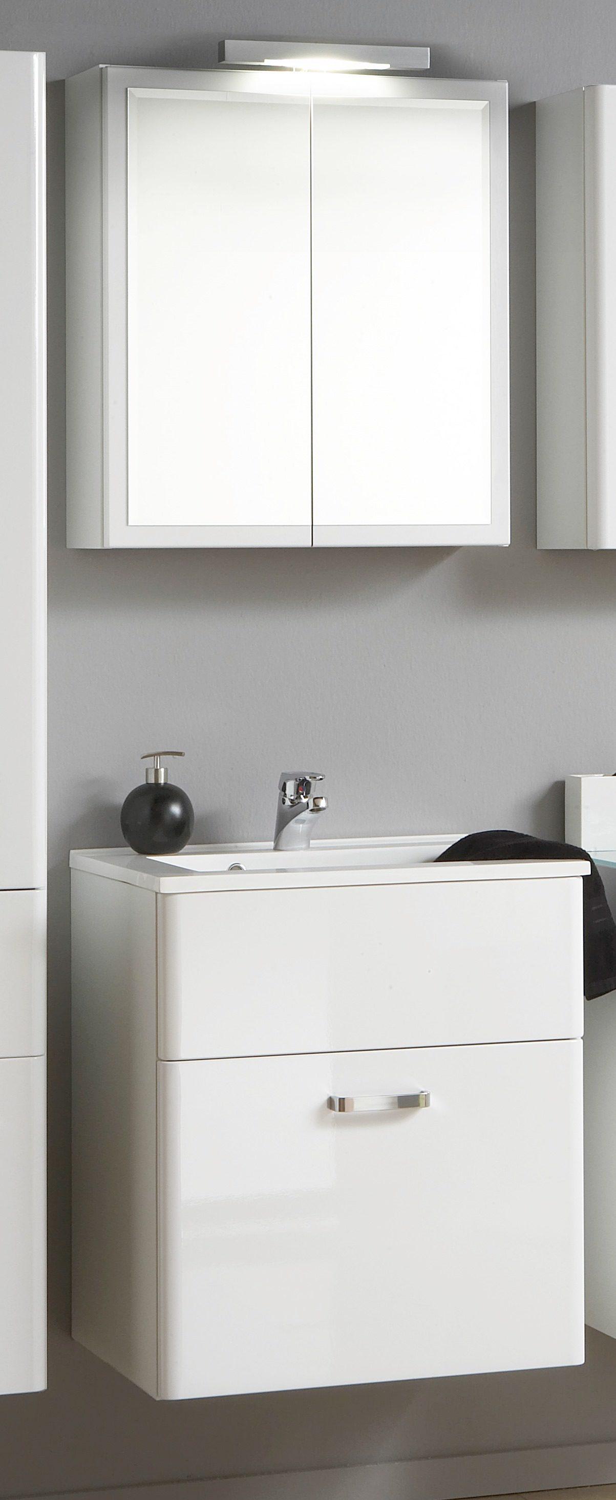 Waschtisch Set Und Spiegelschrank Phoenix Weiße Hochglanzfront