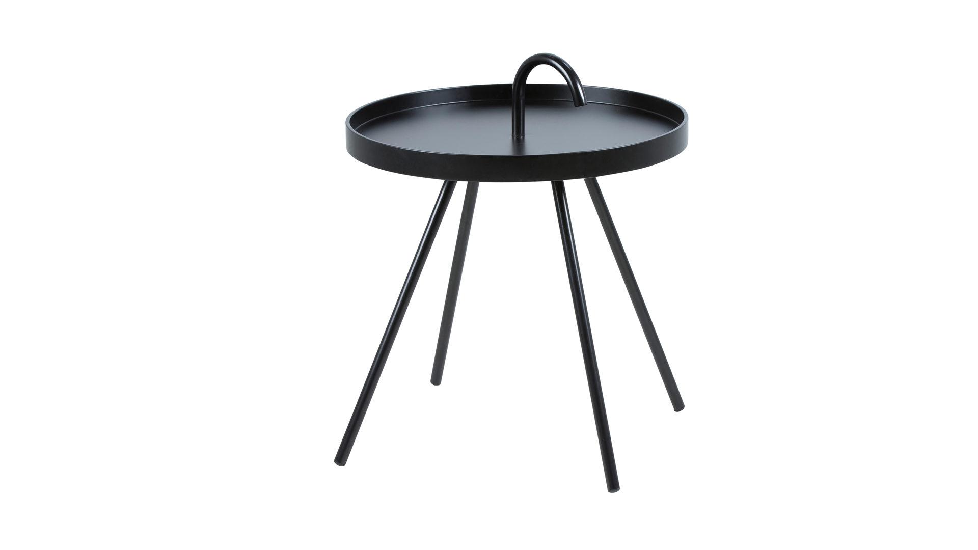 Beistelltisch Der Auch Als Couchtisch Einsetzbar Ist Schwarz Lackiertes Holz Metall Durchmesser Ca 51 Cm