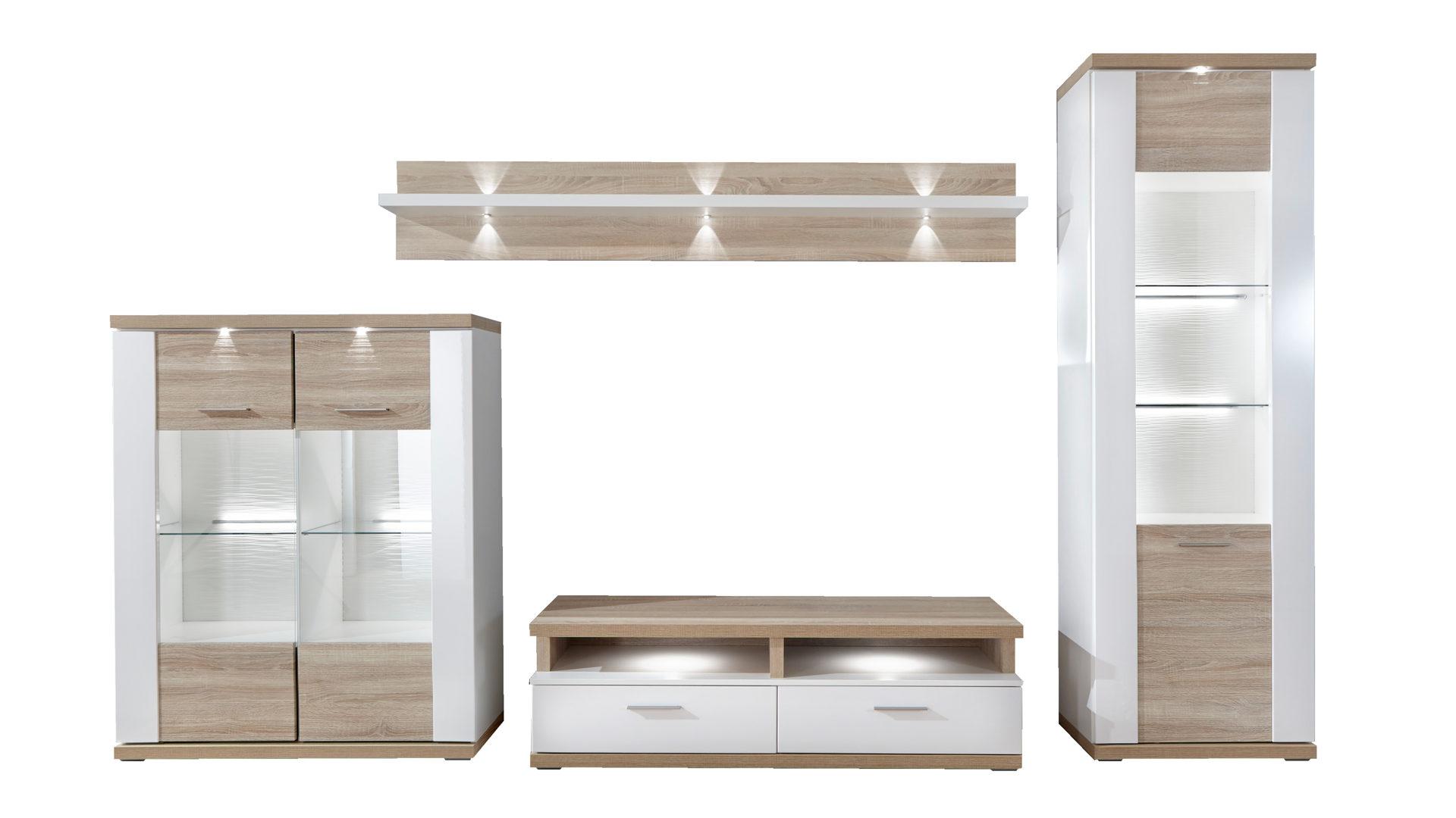 Wohnkombination - Wohnwand mit TV-Möbel, arcticweiße ...