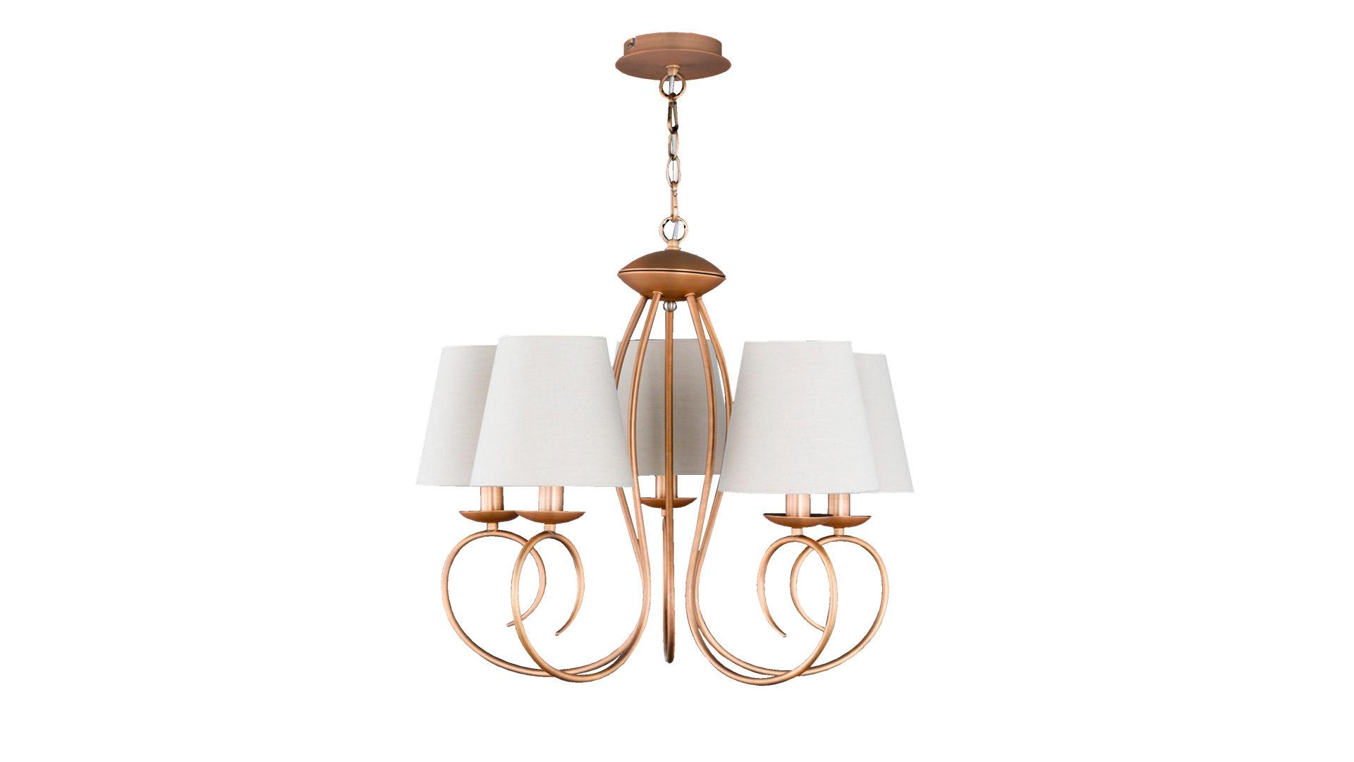 Kronleuchter Twist, bronzefarbenes Metall & weißer Stoff ...