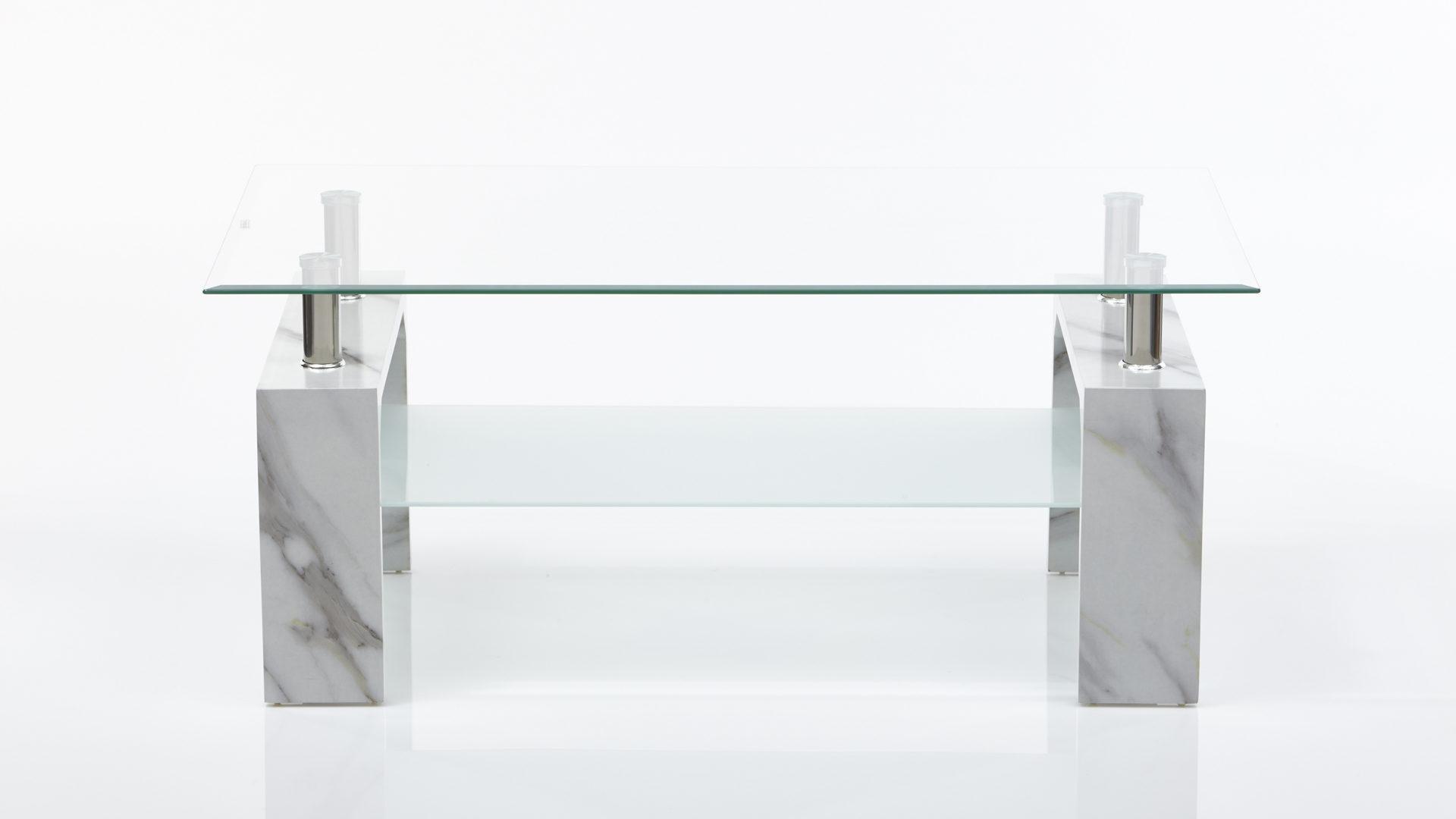 Couchtisch im Marmorlook - Wohnzimmertisch, carrarafarbene  Kunststoffoberflächen & Glas – ca. 100 x 45 x 60 cm