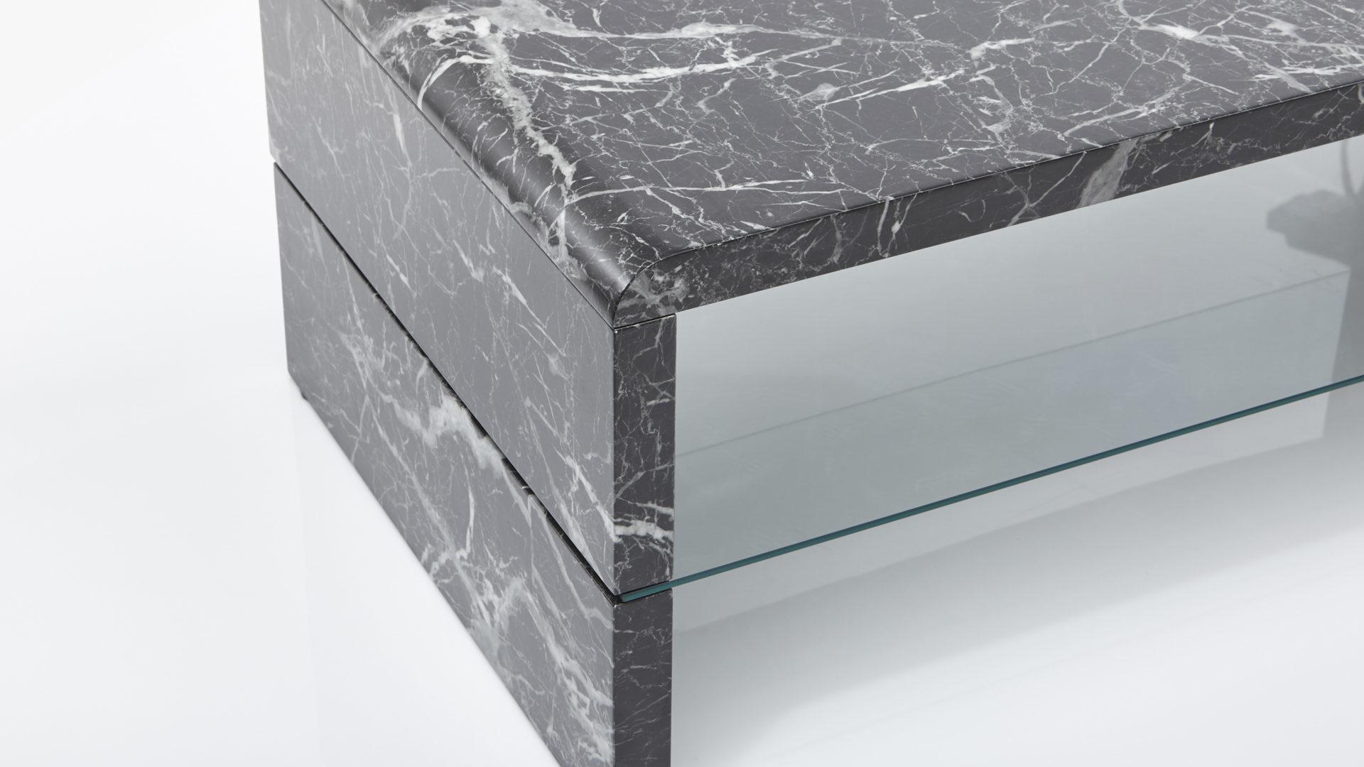 Couchtisch Bzw Sofatisch Schwarze Marmorn Nachbildung Klarglas Ca 110 X 60 Cm
