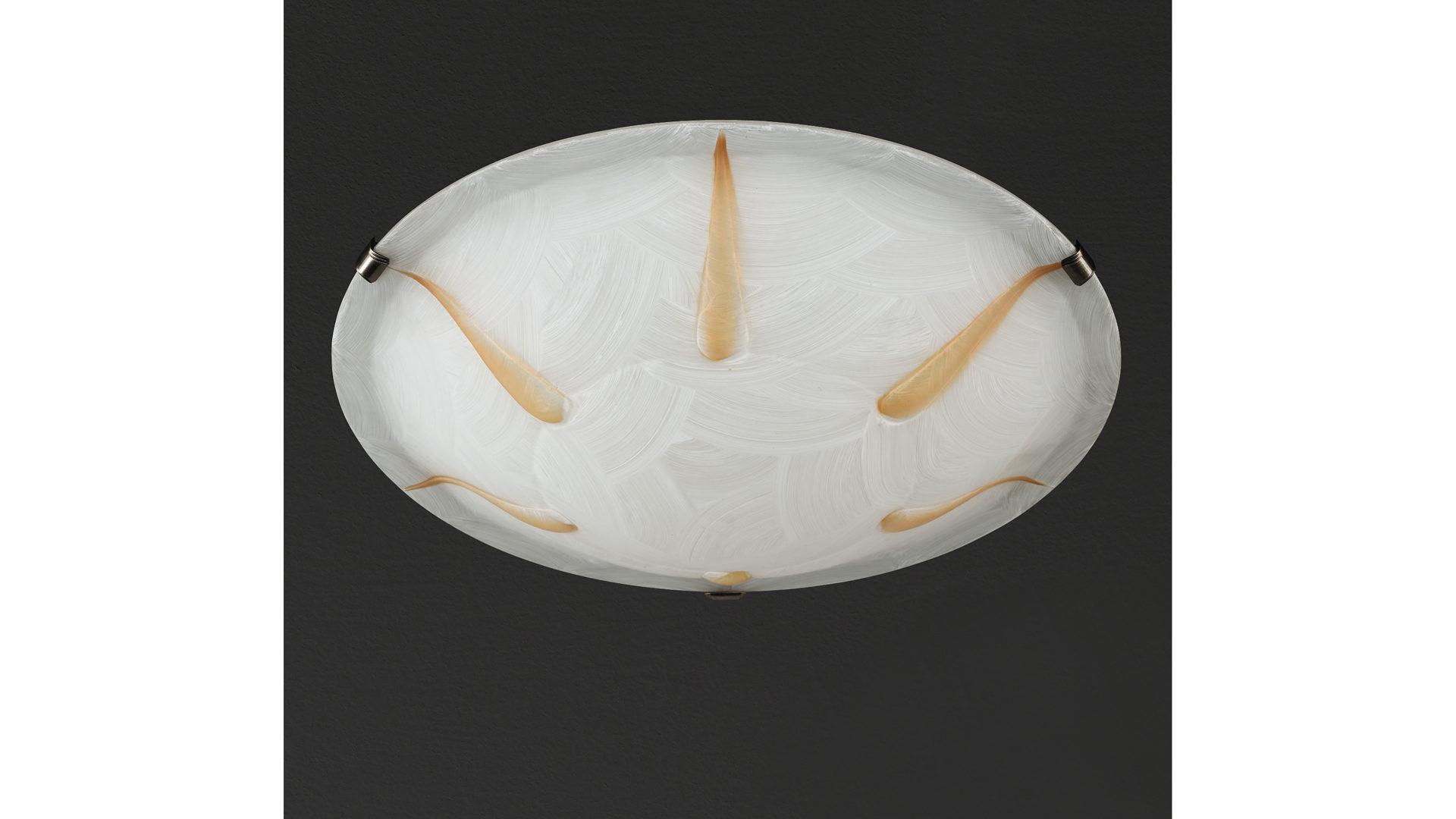 Deckenleuchte Fischer U0026 Honsel Aus Glas In Weiß Deckenleuchte Dardo  Alabasterfarbenes Glas U0026 Altmessingfarbenes Metall U2013