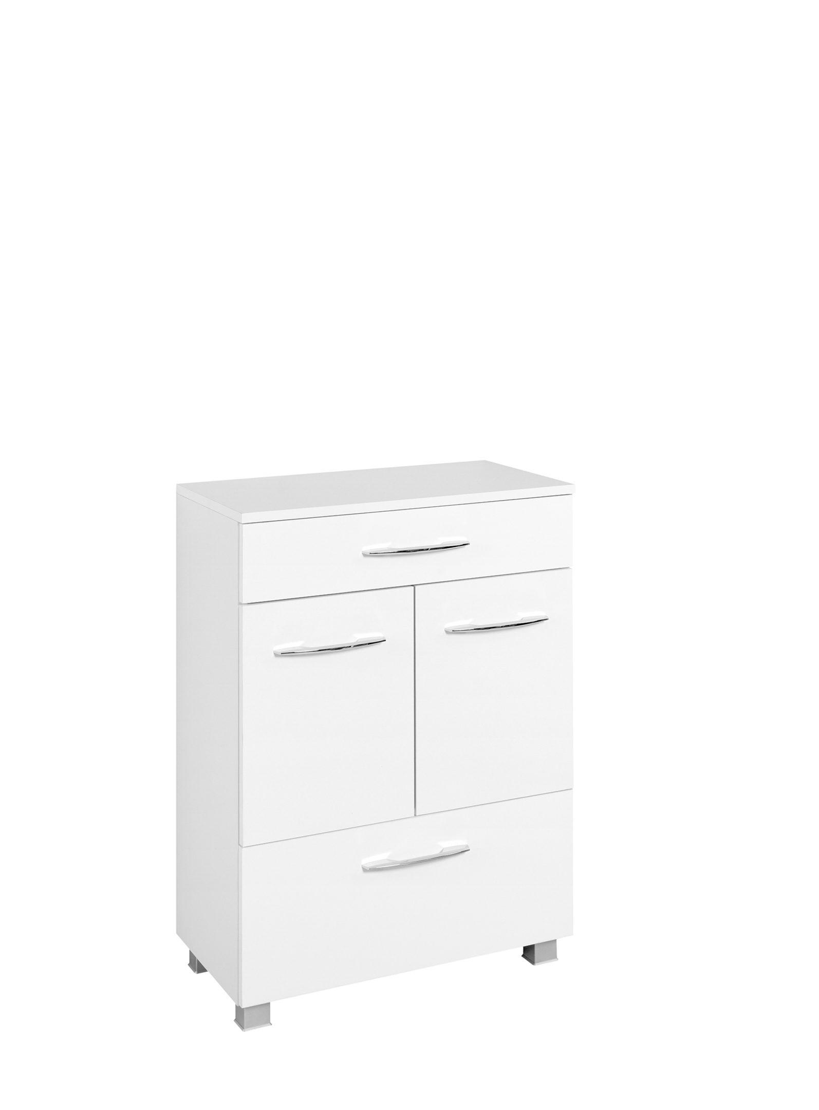 Bad-Unterschrank Portofino, weiße Kunststoffoberflächen – zwei Türen, eine  Schublade & ein Auszug, Breite ca. 60 cm