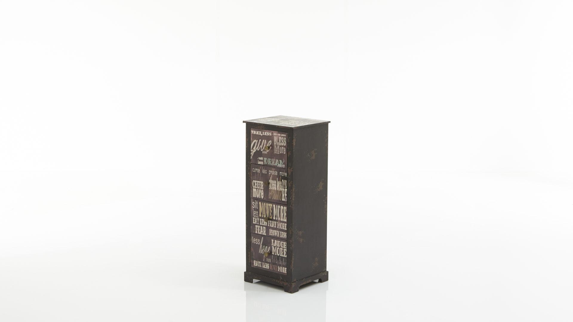 Schubladenkommode als Flurmöbel, Vintage-Print & schwarze, Bad ...