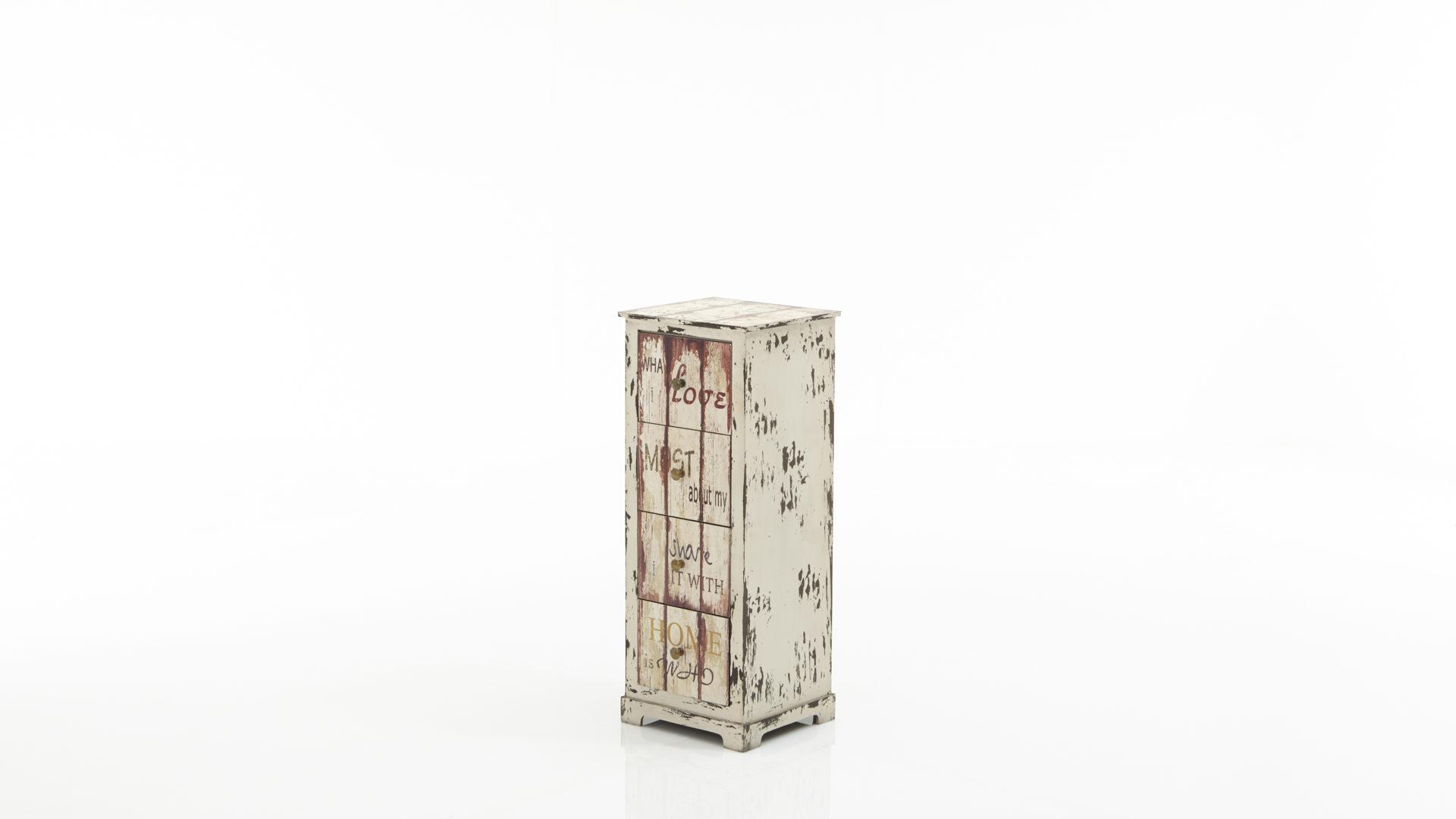 Schubladenkommode im Vintage-Look als Flurmöbel, weiß mit ...