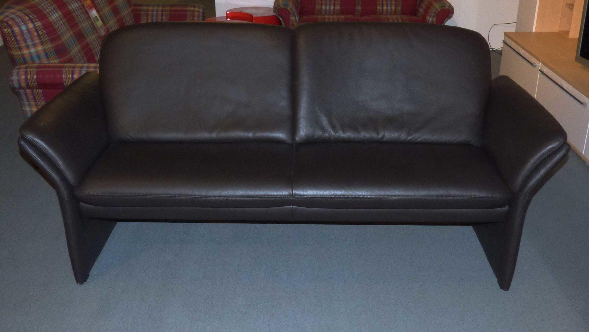 Violetta Couch Sofa 3 Sitzer Nobile 1401 Dickleder Schwarz Braun