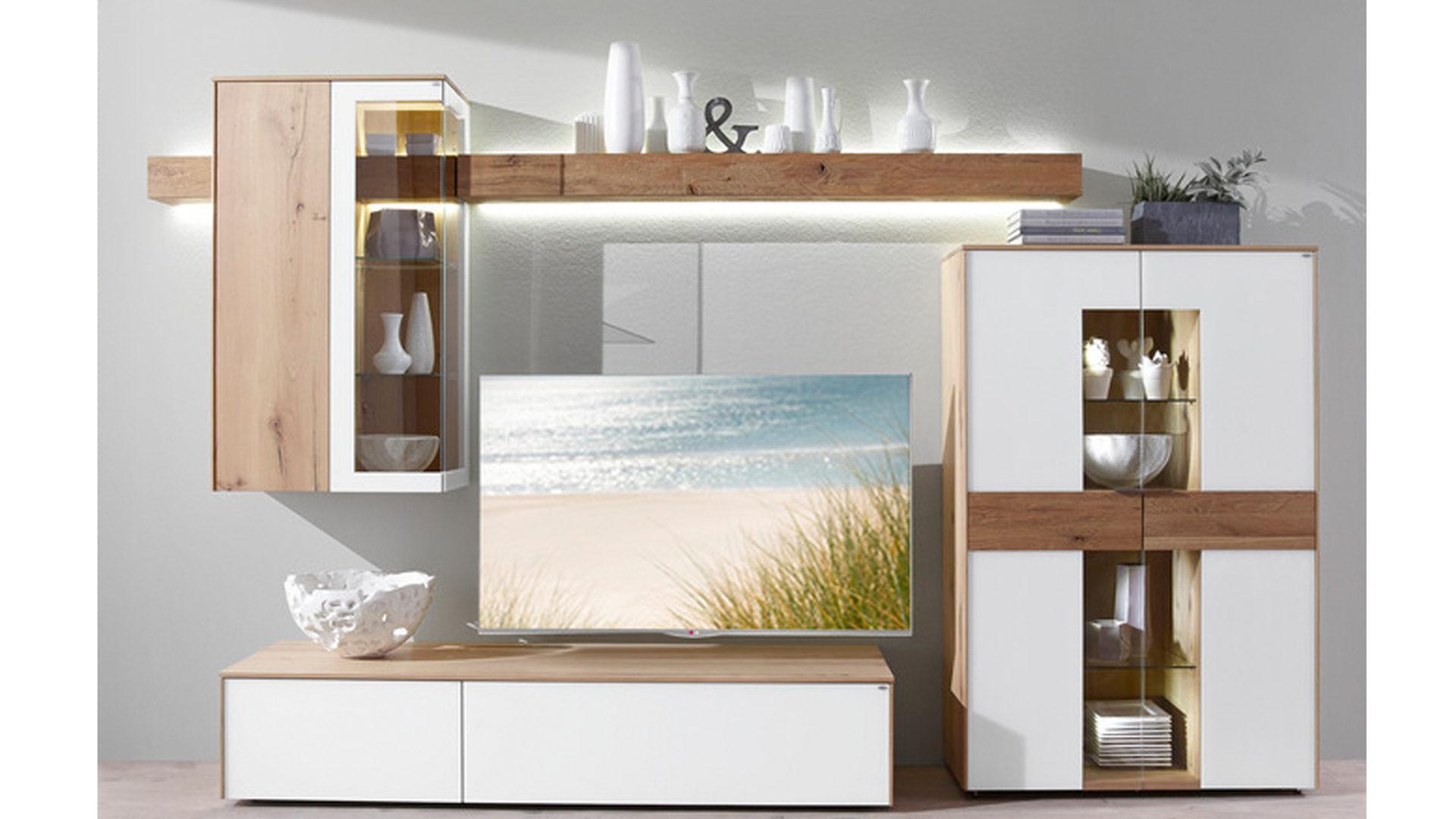 VOGLAUER V-Solid Wohnkombination, optiwhite Colorglas & Wildeichefurnier –  fünfteilig, ca. 320 cm