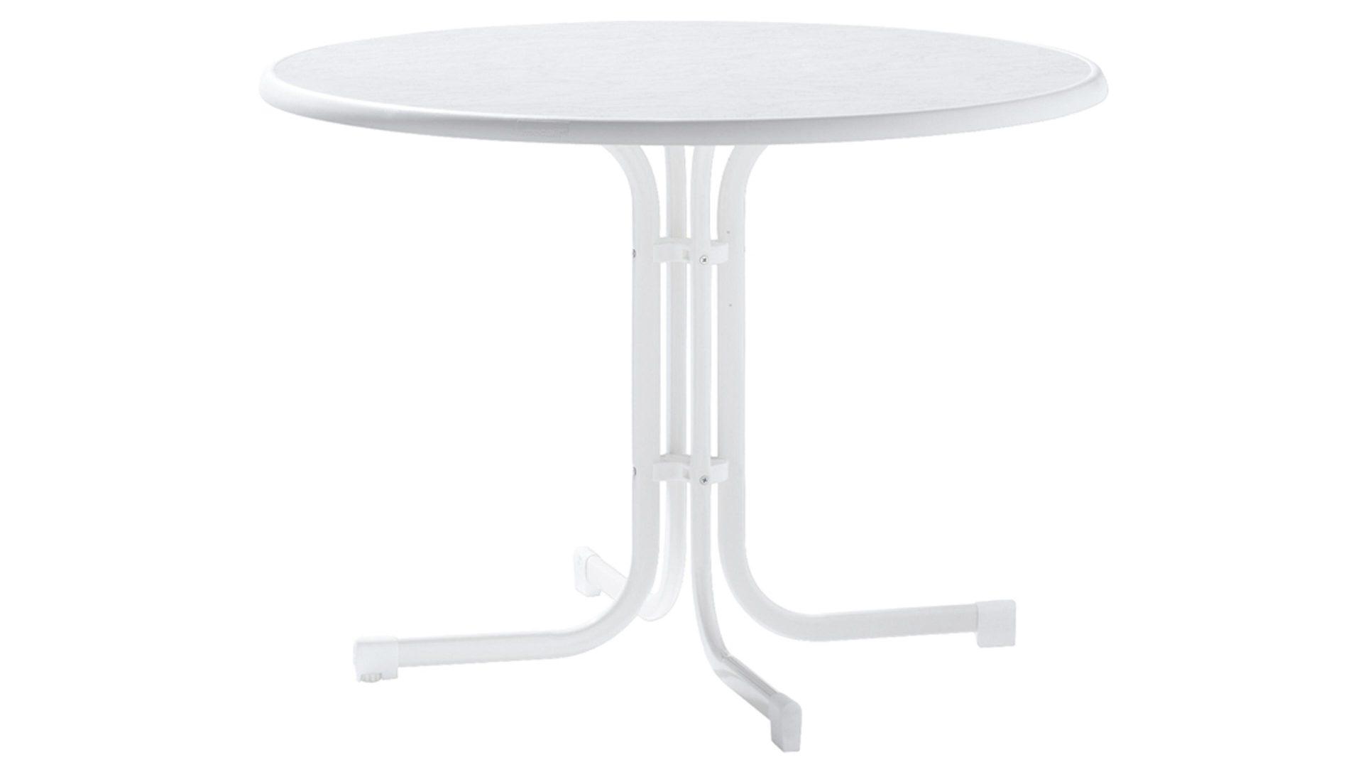 Sieger Gartentisch Weisses Stahlrohrgestell Mecalit Pro Platte