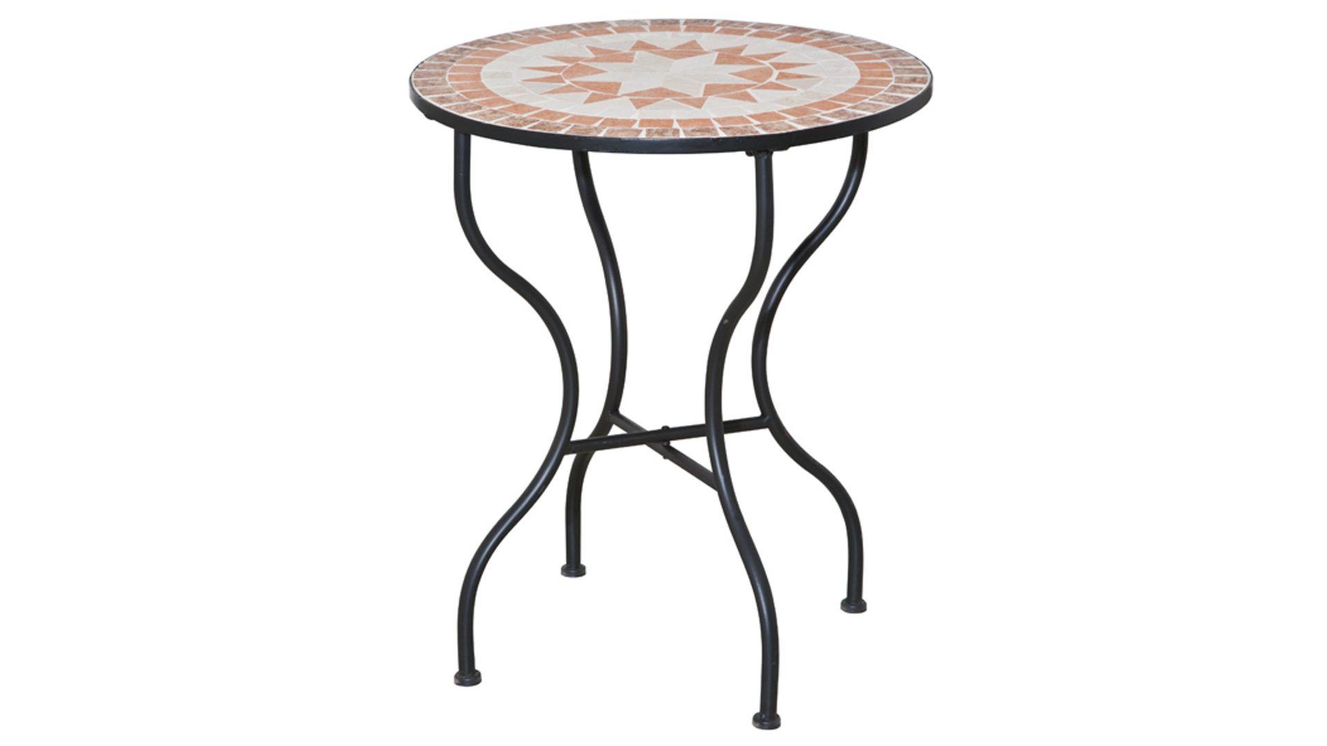 Siena Garden Gartentisch Finca Mattschwarzer Stahl Mosaikoptik