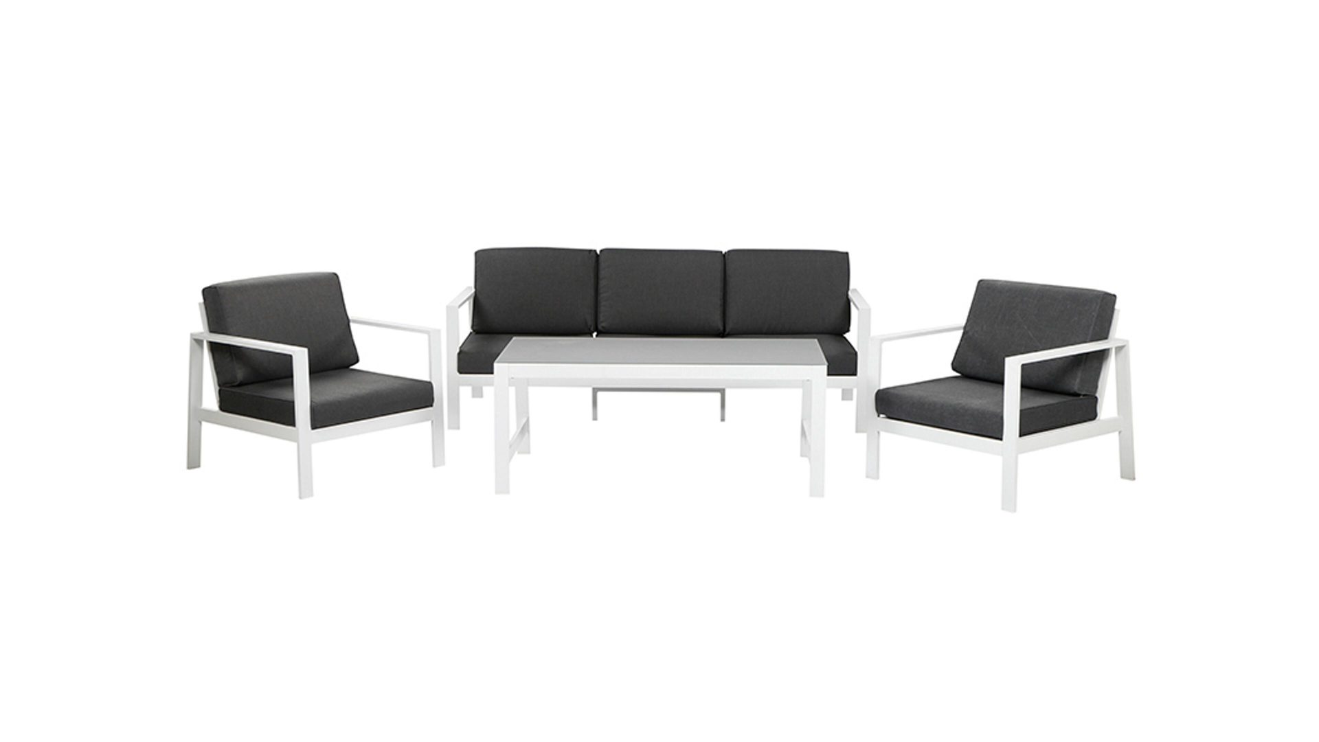 siena GARDEN Loungemöbel-Set Sarah XL, mattweißes Alugestell & graue ...