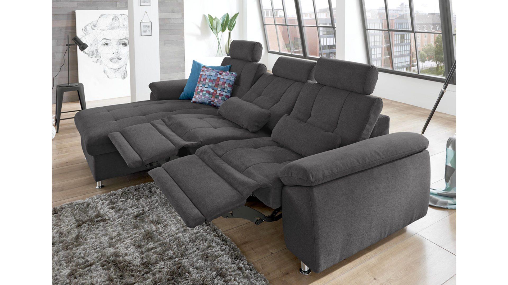 Eckkombination Aus Canape Sofa Und Couch Anthrazitfarbener Bezug
