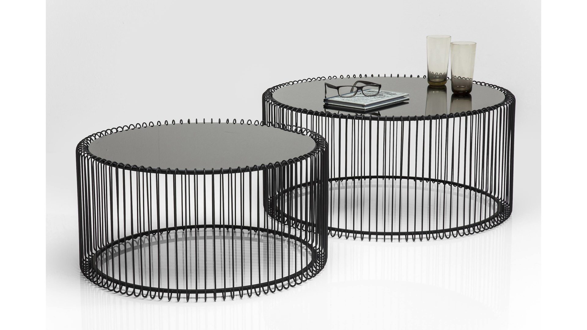 Kare Design Couchtisch Set Wire Schwarzer Stahldraht Glas