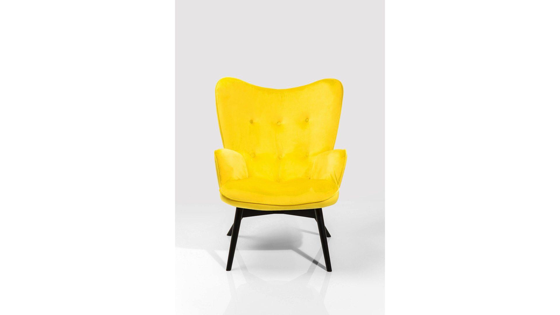 Kare Design Retro Sessel Vicky Gelber Samtbezug Schwarze Holzfüße