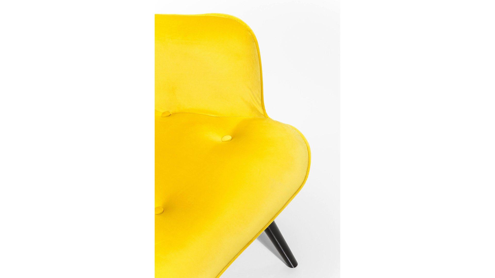 Kare Design Retro Sessel Vicky Gelber Samtbezug Schwarze Holzfusse