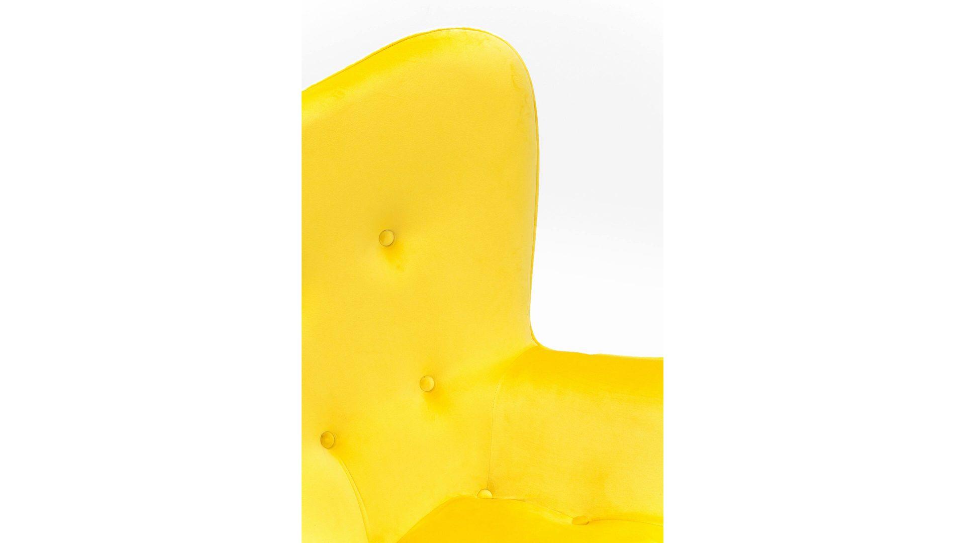 kare design retro-sessel vicky, gelber samtbezug & schwarze holzfüße