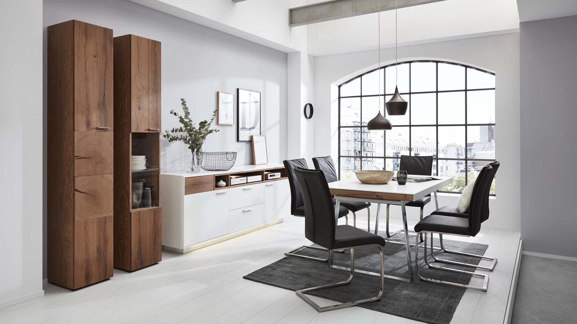 Interliving Wohnzimmer Serie 2102 - Esstisch, dunkles Asteiche-Furnier &  weißer Mattlack – ca. 160 x 90 cm