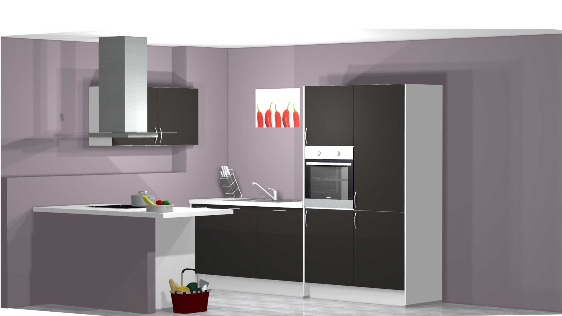 Moderne offene PINO Küche zum kleinen Preis, PINO Einbauküche Küche PN 15  inkl. E-Geräte. Front, Korpus Graphit - Weiss