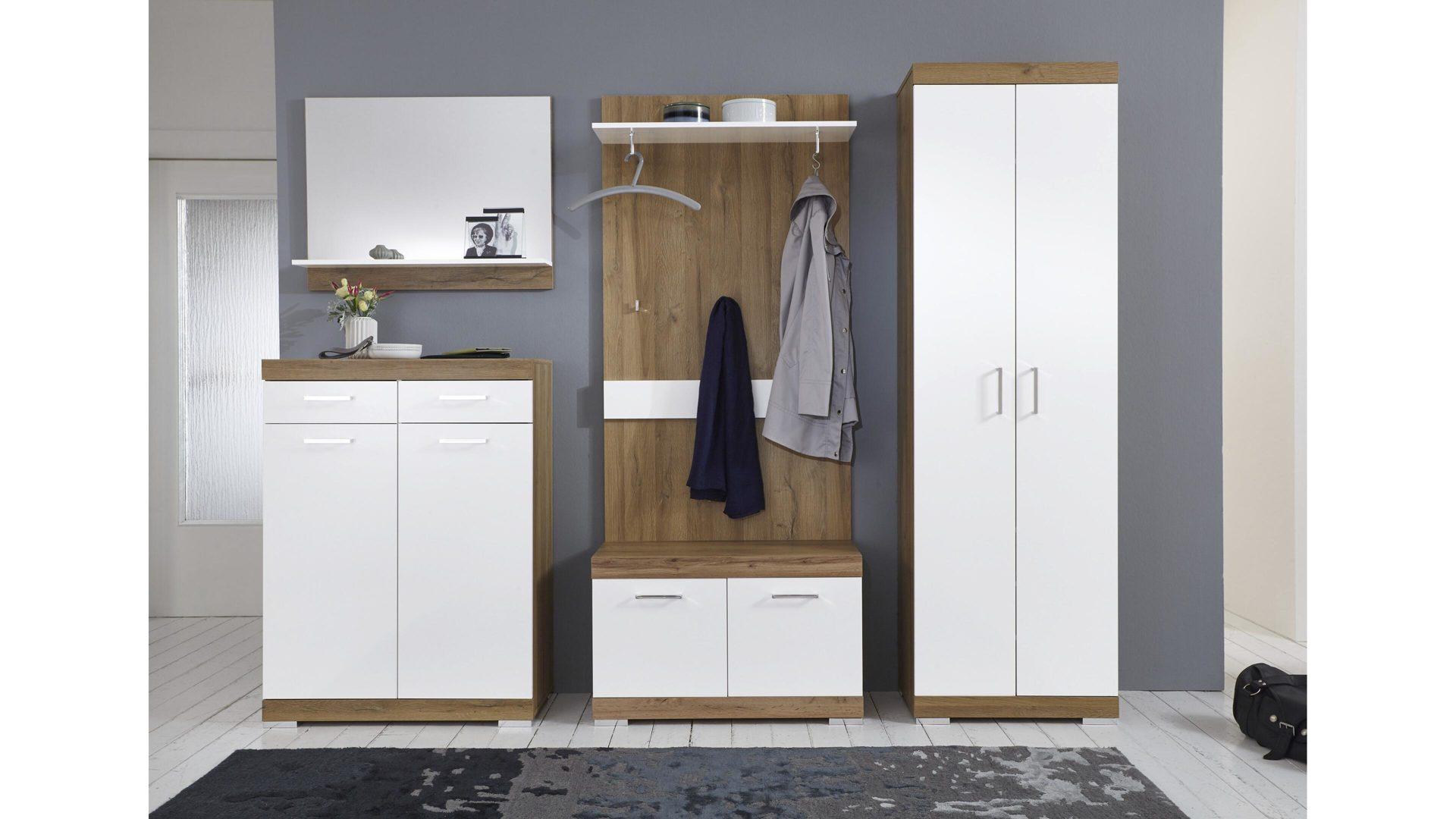Wandgarderobe Holz Weiß.Kombikommode Alteichefarbene Weiße Kunststoffoberflächen Zwei Türen Zwei Schubladen