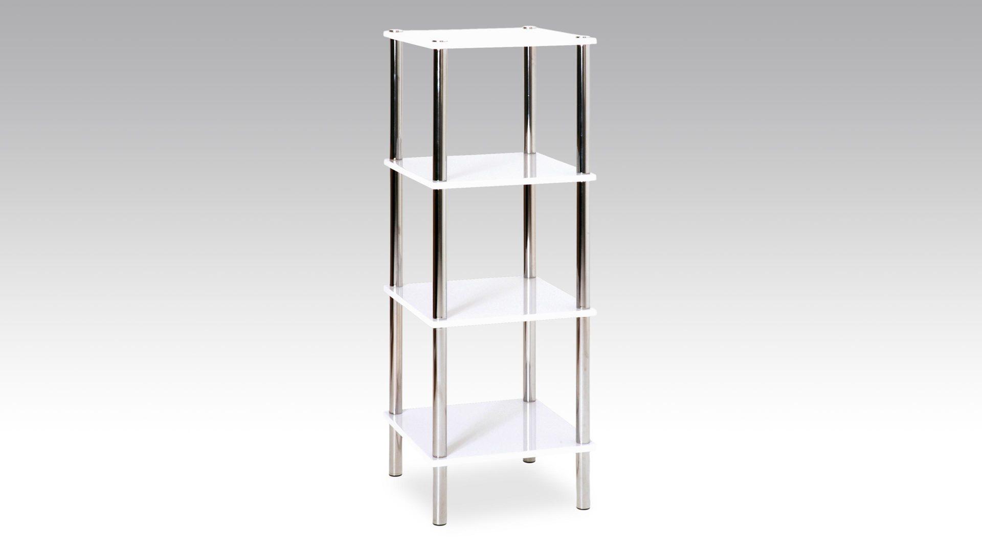 Regal, ein funktionelles Kleinmöbel , weiße Kunststoffoberfläche & Chrom -  vier Böden, Höhe ca. 107 cm