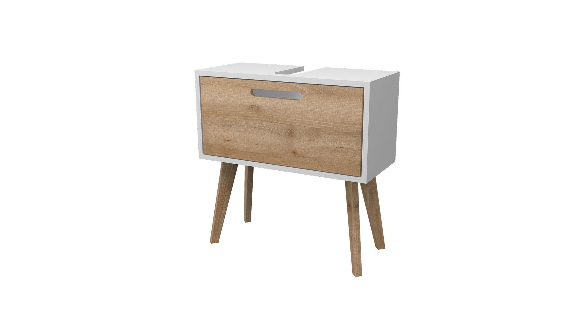 HELD Waschbeckenunterschrank Malmö, buchefarbene & weiße  Kunststoffoberflächen – ein Auszug, Breite ca. 60 cm
