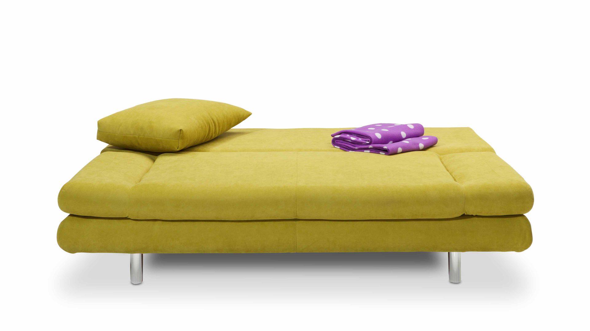 Bett Sofa schlafcouch polstermöbel und bettsofa in einem lemongrüner bezug