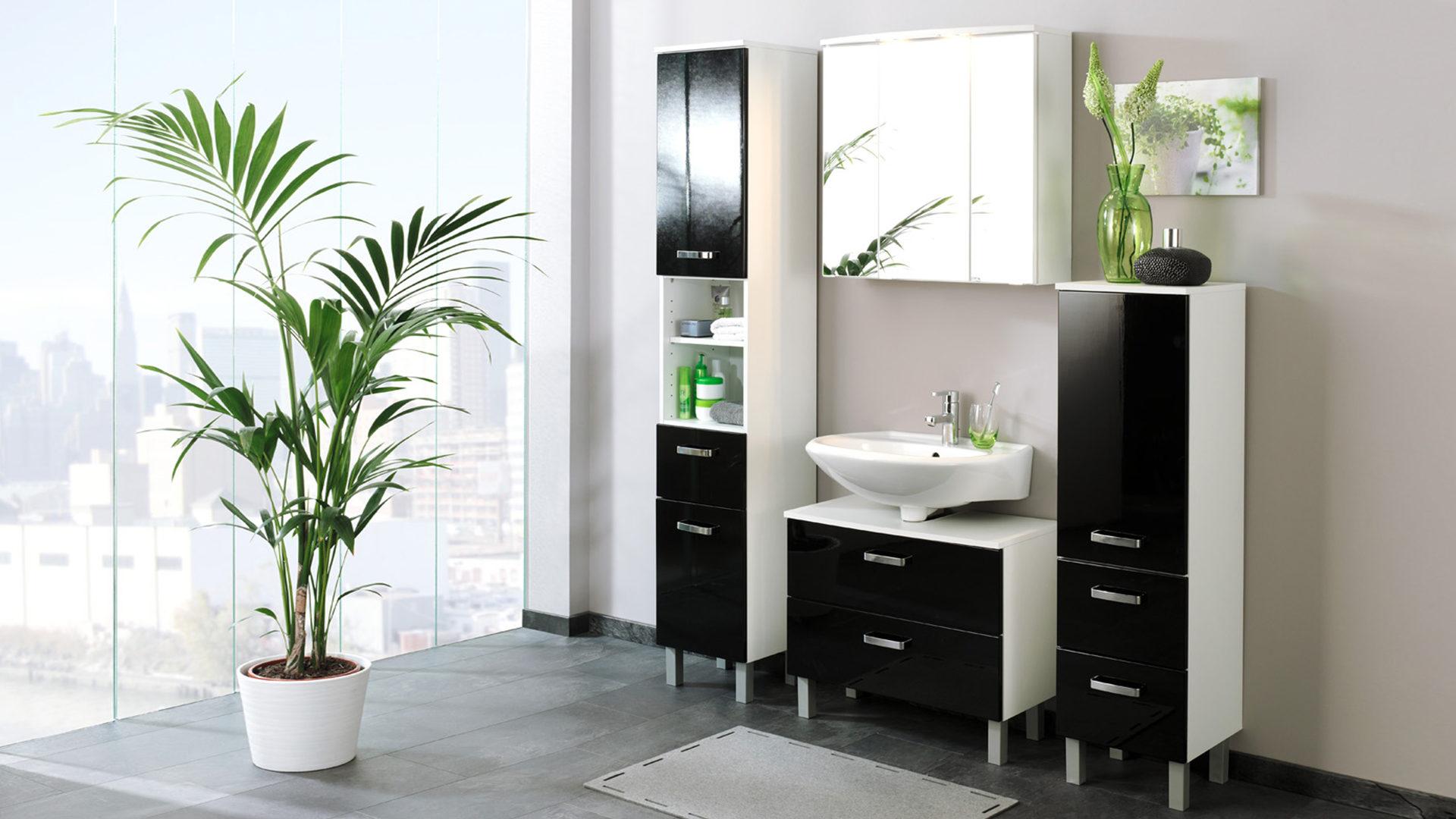 badmobel schwarz, bad-hängeschrank denver als elegantes badmöbel , schwarze hochglanz, Design ideen