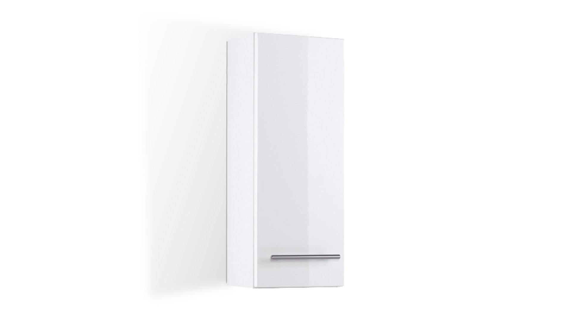 Bad-Hängeschrank Parma für Ihr Badezimmer, weiße Hochglanz- & weiße  Melaminoberflächen – Breite ca. 25 cm, eine Tür