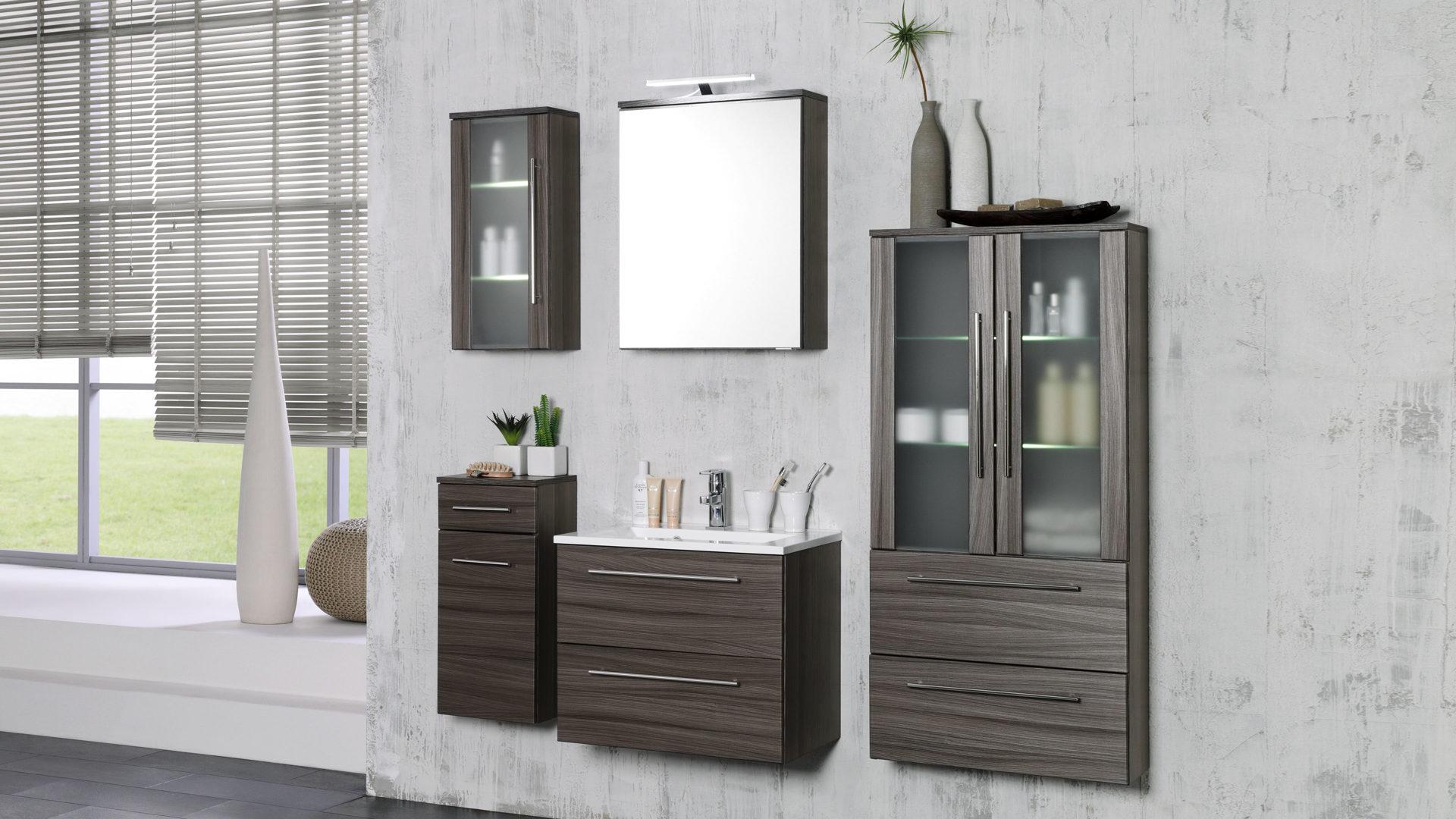 Spiegelschrank Mailand, ein Hängeschrank fürs Badezimmer, dunkel ...