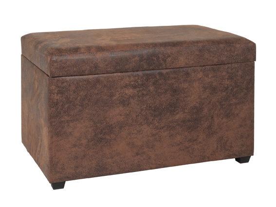 Sitztruhe mit Stauraum als Sitzmöbel, vintagebraunes Kunstleder - ca. 65 x  42 x 40 cm