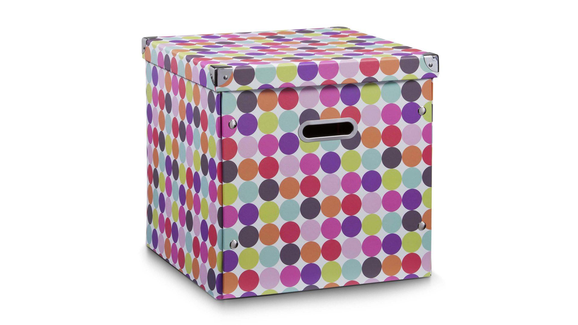 Aufbewahrungsbox Dots, Pappkarton mit bunten Punkten - ca. 32 x 32 ...
