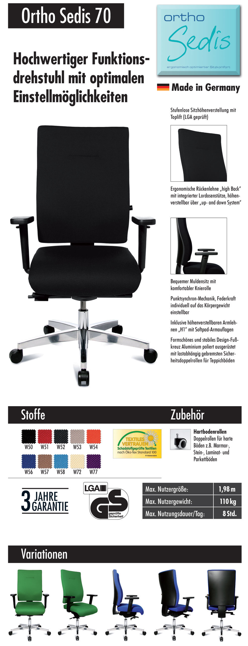 TOPSTAR Drehstuhl Bürostuhl ORTHOSEDIS 70, Stoff schwarz W50 ...
