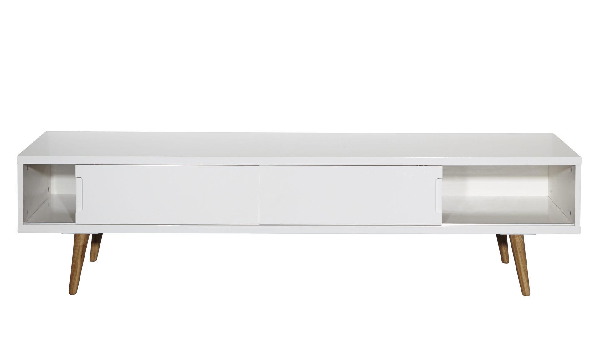 TV-Lowboard im Retro-Stil als Fernsehschrank, weiße ...