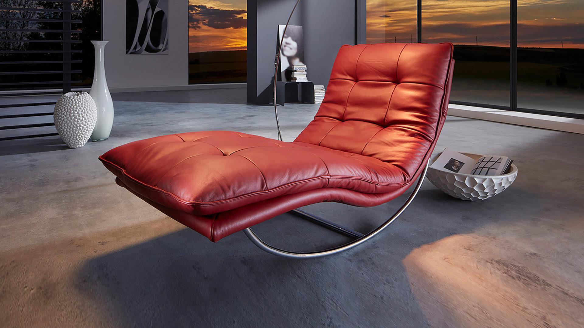 Wschillig Relaxliege Wohnzimmermöbel Rubinrotes Leder Z5910