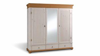 Kleiderschrank Euro Diffusion Aus Holz In Weiß Kleiderschrank Massivholz Im  Zeitlosen Landhausstil Weiß Lackiertes U0026 Antikfarbenes